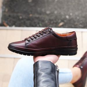 Pantofi din piele naturală Bordo Cod 6636