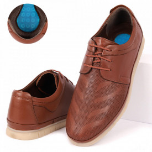 Pantofi din piele naturală cod 1000-2 Camel