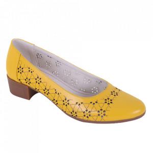 Pantofi din piele naturală cod 1141 Galben