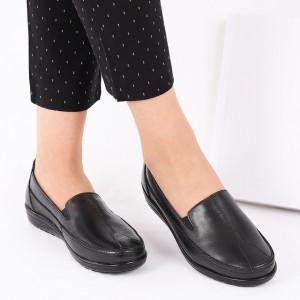 Pantofi din piele naturală cod 118121 Negri