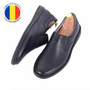 Pantofi din piele naturală cod 170 Albastru