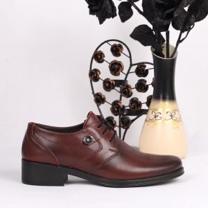 Pantofi din piele naturală Cod 2494 - Pantofi damă din piele naturală Închidere cu şiret Calapod comod - Deppo.ro