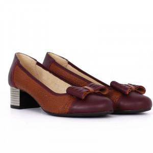 Pantofi din piele naturală Cod 4858 Maro