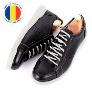 Pantofi din piele naturală cod 5221 Negru