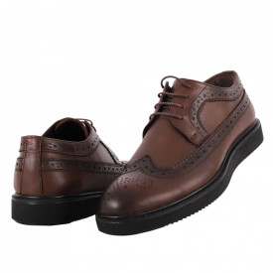Pantofi din piele naturală cod 6000 Kahve
