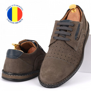 Pantofi din piele naturală Cod 640 Gri