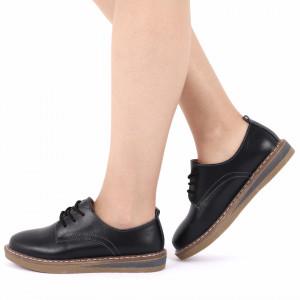 Pantofi din piele naturală cod 6552 Negri - Pantofi pentru dame din piele naturală cu talpă flexibilă - Deppo.ro