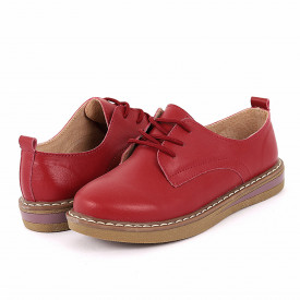 Pantofi din piele naturală cod 6552 Roși