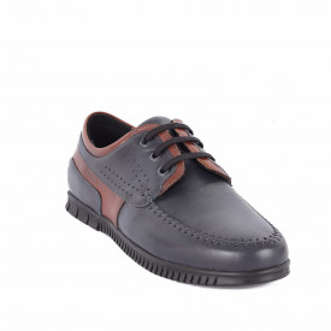 Pantofi din piele naturală cod 9022 Albastru - Pantofi din piele naturală Închidere prin șiret Model simplu, finisaje îngrijite Cu undesign deosebit - Deppo.ro