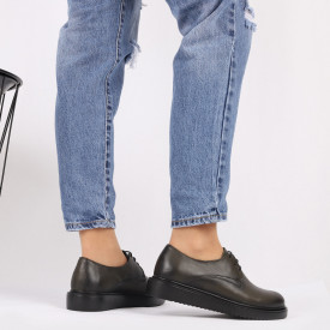Pantofi din piele naturală kaki Cod 483 - Pantofi damă din piele naturală, foarte confortabili cu un tălpic special care conferă lejeritate chiar și în cazurile în care petreci mult timp stând în picioare. - Deppo.ro