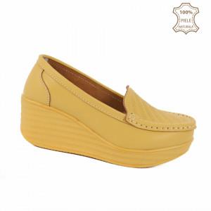 Pantofi din piele naturală Layla Yellow - Pantofi pentru dame din piele naturală cu talpă ortopedică flexibilă - Deppo.ro