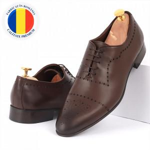 Pantofi din piele naturală maro cod 3292
