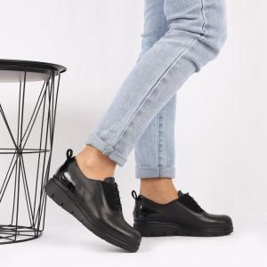 Pantofi din piele naturală neagră Cod 481