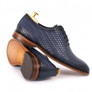 Pantofi din piele naturală pentru bărbați cod 2012 Albaştri - Pantofi din piele naturală pentru bărbaţi, model simplu, finisaje îngrijite cu un design deosebit - Deppo.ro