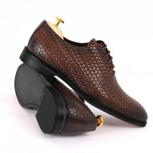 Pantofi din piele naturală pentru bărbați cod 2012 Maro Închis - Pantofi din piele naturală pentru bărbaţi, model simplu, finisaje îngrijite cu un design deosebit - Deppo.ro