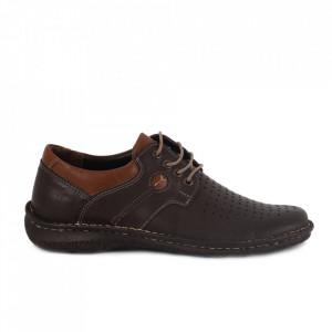 Pantofi din piele naturală pentru bărbați cod 201216 Maro
