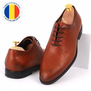 Pantofi din piele naturală pentru bărbați cod 2020 Maro deschis