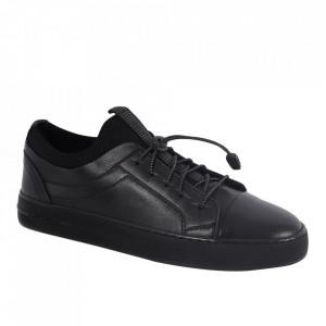 Pantofi din piele naturală pentru bărbați cod 321 Black