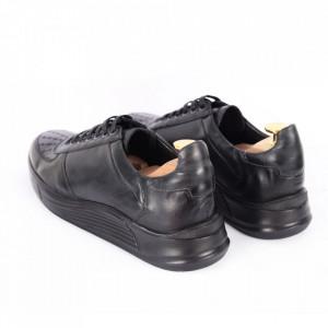 Pantofi din piele naturală pentru bărbați cod 330-1 Negru - Pantofi din piele naturală moale pentru bărbați Model simplu, finisaje îngrijite - Deppo.ro
