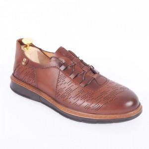 Pantofi din piele naturală pentru bărbați cod 331 Maro