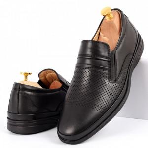 Pantofi din piele naturală pentru bărbați cod 652 Black