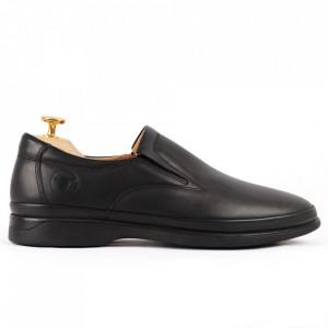 Pantofi din piele naturală pentru bărbați cod 8264 Black - Pantofi din piele naturală moale pentru bărbați Model simplu, finisaje îngrijite - Deppo.ro