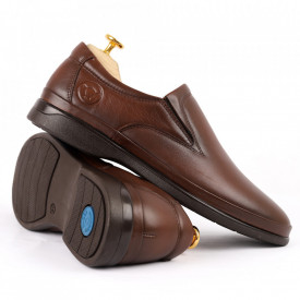 Pantofi din piele naturală pentru bărbați cod 8264 Brown - Pantofi din piele naturală moale pentru bărbați Model simplu, finisaje îngrijite - Deppo.ro