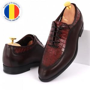 Pantofi din piele naturală pentru bărbați cod 912 Bordo