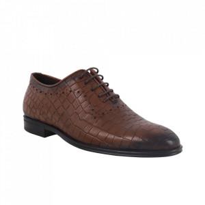 Pantofi din piele naturală pentru bărbați cod 9133 Maro Inchis CR