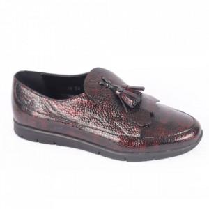 Pantofi din piele naturală pentru dame cod 305 Vișiniu
