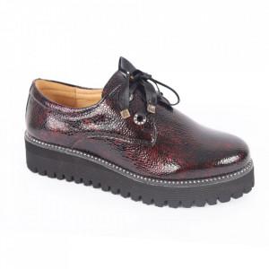 Pantofi din piele naturală pentru dame cod 309 Vișiniu
