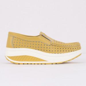 Pantofi din piele naturală pentru dame cod A522 Yellow