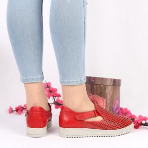 Pantofi din piele naturală roşii Cod 2490 - Pantofi damă din piele naturală de culoare roşie cu talpa crem - Deppo.ro