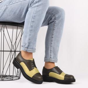 Pantofi din piele naturală verde Cod 482 - Pantofi damă din piele naturală, foarte confortabili cu un tălpic special care conferă lejeritate chiar și în cazurile în care petreci mult timp stând în picioare. - Deppo.ro