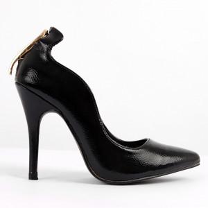 Pantofi pentru dame cod 11461 Black - Pantofi cu toc din piele ecologică lăcuită Toc  subțire Calapod comod - Deppo.ro