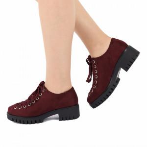 Pantofi pentru dame cod D50081 Bordo - Pantofi pentru dame, din piele ecologica cu închidere prin șiret - Deppo.ro