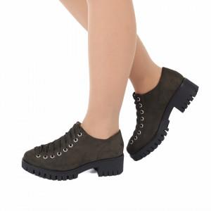 Pantofi pentru dame cod D50081 Verde Army - Pantofi pentru dame, din piele ecologica cu închidere prin șiret - Deppo.ro