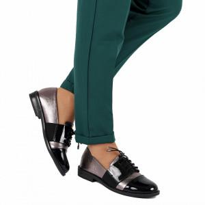 Pantofi pentru dame cod F20 Negri Gun - Pantofi pentru dame, din piele ecologică cu închidere prin șiret - Deppo.ro