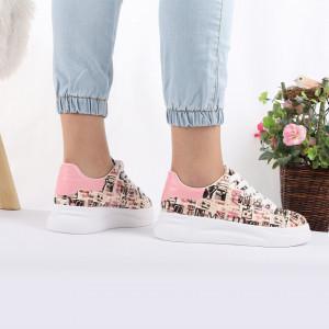 Pantofi Sport C30 Roz - Pantofi sport pentru dame cu talpă înaltă din spumă foarte comodă și ușoară -piele ecologică întoarsă cu închidere prin șiret - Deppo.ro