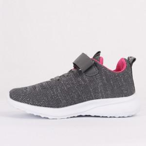 Pantofi sport cod F5AD Gri - Pantofi sport din material textil cu talpă din spumă și închidere cu scai - Deppo.ro