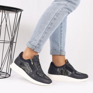 Pantofi sport din piele naturală albastră Cod 495