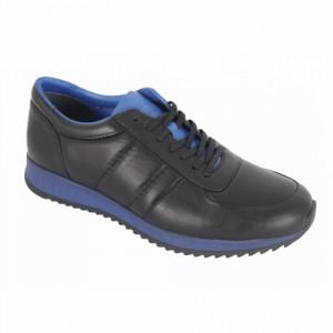 Pantofi sport din piele naturală pentru bărbați cod 9401 Siyah Mavi