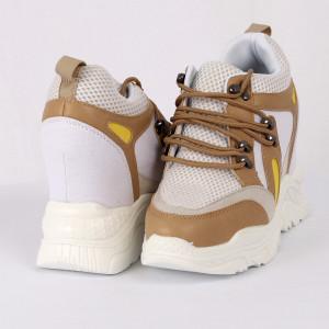 Pantofi Sport pentru dame Cod 180907 Bej - Pantofi sport cu platformă pentru dame  Foarte comfortabili - Deppo.ro