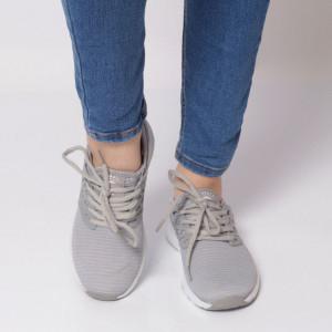 Pantofi Sport pentru dame Cod B8143 Grey - Pantofi sport pentru dame dinpanză,talpă din spumă  Foarte ușori și comozi  Închidere prin șiret. - Deppo.ro