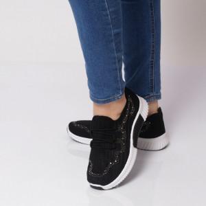 Pantofi Sport pentru dame Cod HQ-11-62 Black - Pantofi sport pentru dame,dinpanza,talpă din spumă  Foarte ușori și comozi  Închidere prin șiret. - Deppo.ro