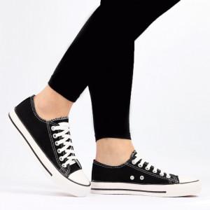 Pantofi Sport pentru dame Cod TEN85 Black - Pantofi sport pentru dame,din material textil  Foarte ușori și comozi  Închidere prin șiret. - Deppo.ro