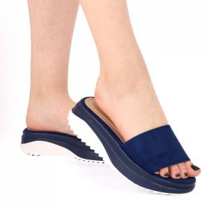Papuci pentru dame din piele ecologică cod LTS0273 Navy