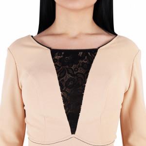 Rochie Braelyn Beige - Rochie casual cu mânecă lungă, pune-ți silueta în evidență și atrage toate privirile, aspectul asimetric petrecut de la baza rochiei aduce un aer inedit ținutei. - Deppo.ro