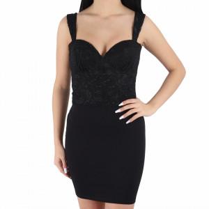 Rochie Even - Rochie neagră elegantă, fără mâneci, lejeră cu un design floral - Deppo.ro