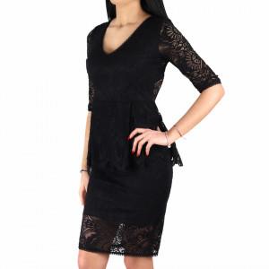 Rochie Gloria Black - Rochie elegantă cu material dantelat, pune-ți silueta în evidență și atrage toate privirile - Deppo.ro